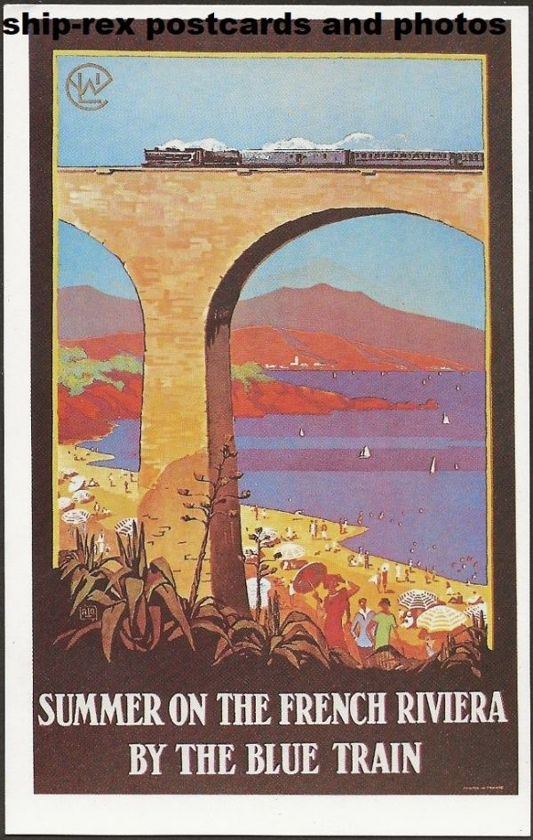 French Railway Poster (French Riviera) - modern postcard